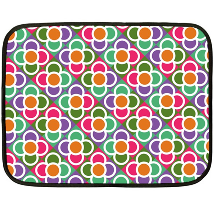 Modernist Floral Tiles Fleece Blanket (Mini)