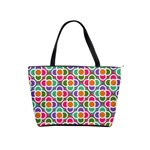 Modernist Floral Tiles Shoulder Handbags Front