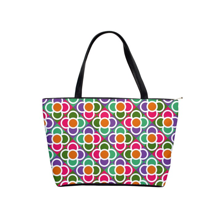 Modernist Floral Tiles Shoulder Handbags