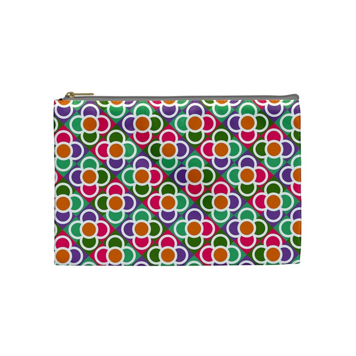 Modernist Floral Tiles Cosmetic Bag (Medium)