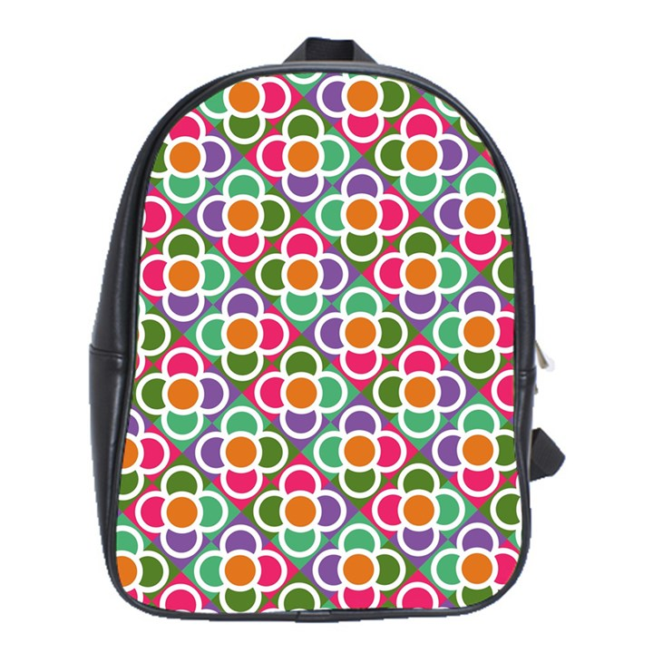 Modernist Floral Tiles School Bags(Large)