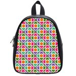 Modernist Floral Tiles School Bags (Small)  Front