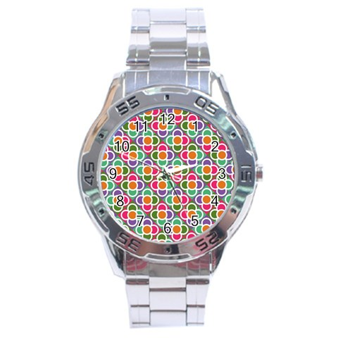 Modernist Floral Tiles Stainless Steel Analogue Watch