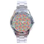 Modernist Floral Tiles Stainless Steel Analogue Watch Front