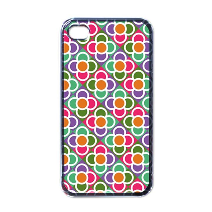 Modernist Floral Tiles Apple iPhone 4 Case (Black)