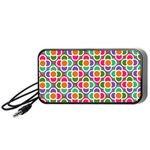 Modernist Floral Tiles Portable Speaker (Black)  Front