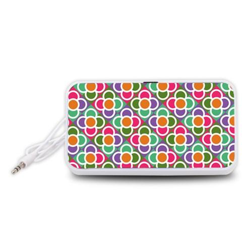 Modernist Floral Tiles Portable Speaker (White)