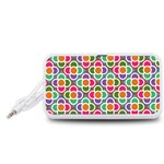 Modernist Floral Tiles Portable Speaker (White)  Front