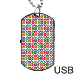 Modernist Floral Tiles Dog Tag Usb Flash (one Side)