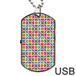 Modernist Floral Tiles Dog Tag USB Flash (Two Sides)  Front