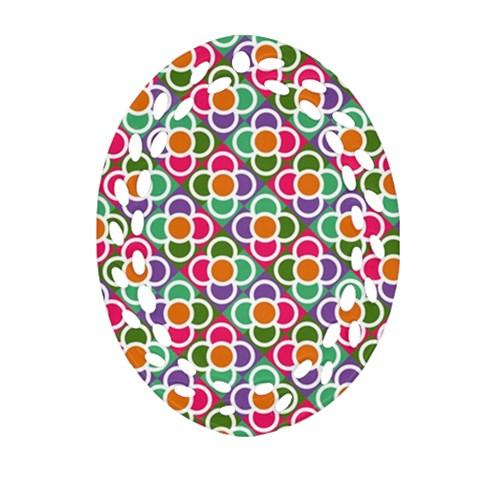 Modernist Floral Tiles Ornament (Oval Filigree)