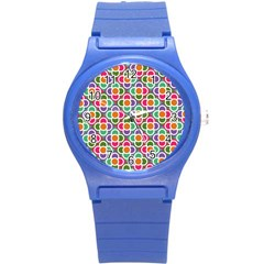 Modernist Floral Tiles Round Plastic Sport Watch (s)