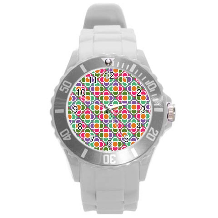 Modernist Floral Tiles Round Plastic Sport Watch (L)