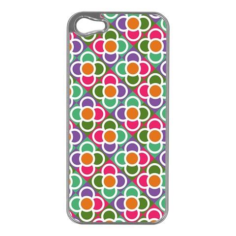Modernist Floral Tiles Apple iPhone 5 Case (Silver)