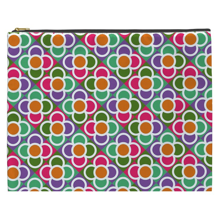 Modernist Floral Tiles Cosmetic Bag (XXXL)
