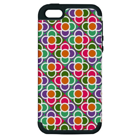 Modernist Floral Tiles Apple iPhone 5 Hardshell Case (PC+Silicone)