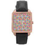 Modernist Floral Tiles Rose Gold Leather Watch  Front