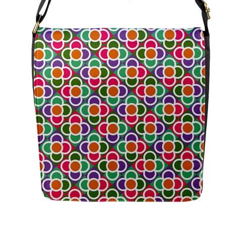 Modernist Floral Tiles Flap Messenger Bag (L)