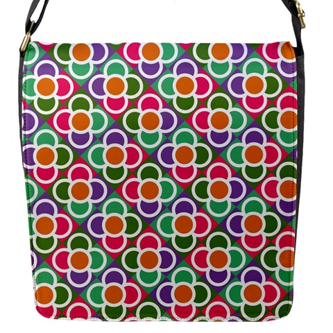 Modernist Floral Tiles Flap Messenger Bag (S)