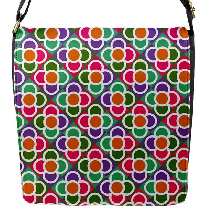 Modernist Floral Tiles Flap Messenger Bag (S)