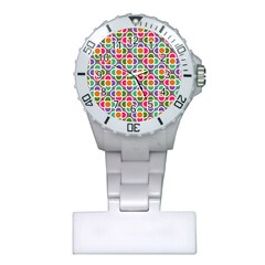 Modernist Floral Tiles Plastic Nurses Watch