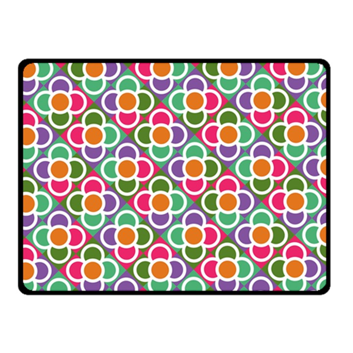 Modernist Floral Tiles Double Sided Fleece Blanket (Small)