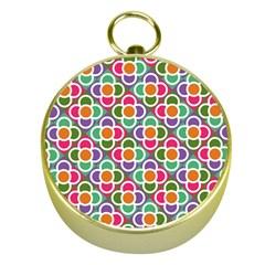 Modernist Floral Tiles Gold Compasses