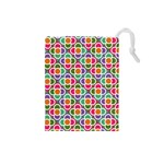 Modernist Floral Tiles Drawstring Pouches (Small)  Front