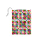 Modernist Floral Tiles Drawstring Pouches (Small)  Back