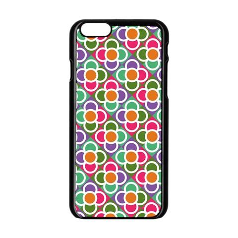 Modernist Floral Tiles Apple iPhone 6/6S Black Enamel Case