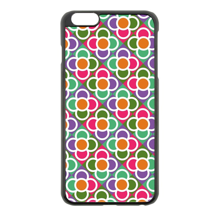 Modernist Floral Tiles Apple iPhone 6 Plus/6S Plus Black Enamel Case