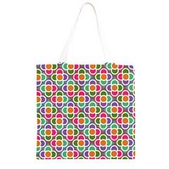 Modernist Floral Tiles Grocery Light Tote Bag