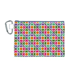 Modernist Floral Tiles Canvas Cosmetic Bag (m)