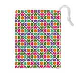 Modernist Floral Tiles Drawstring Pouches (Extra Large) Front