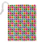 Modernist Floral Tiles Drawstring Pouches (XXL) Back