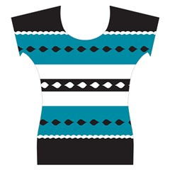 Turquoise, Black And White Bands Women s Cap Sleeve Top