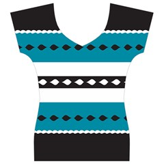 Turquoise, Black And White Bands Women s V-Neck Cap Sleeve Top