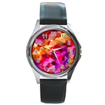 Geometric Fall Pattern Round Metal Watch Front