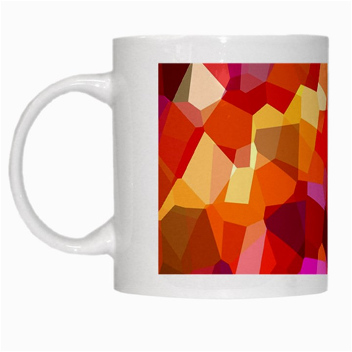 Geometric Fall Pattern White Mugs