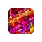 Geometric Fall Pattern Rubber Square Coaster (4 pack)  Front