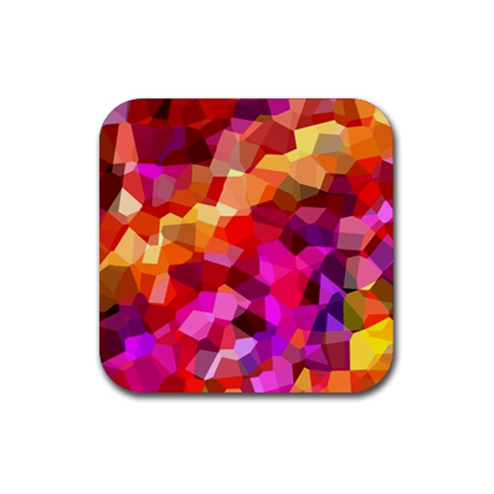 Geometric Fall Pattern Rubber Square Coaster (4 pack)