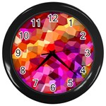 Geometric Fall Pattern Wall Clocks (Black) Front