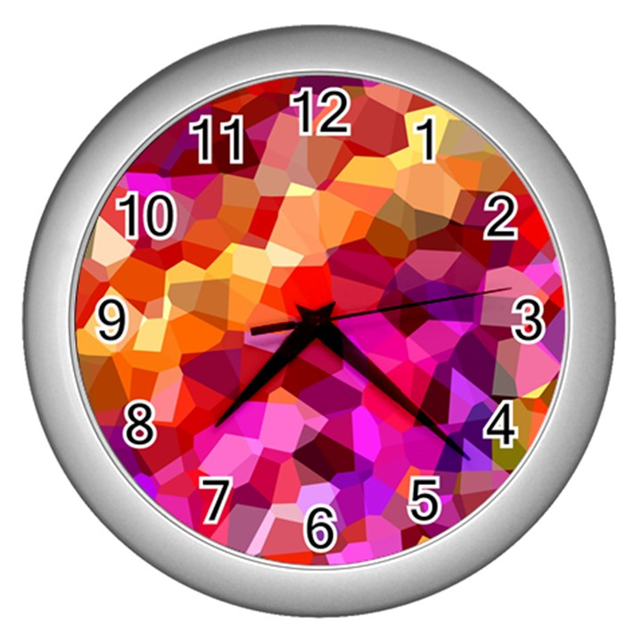 Geometric Fall Pattern Wall Clocks (Silver)