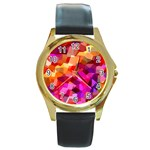 Geometric Fall Pattern Round Gold Metal Watch Front