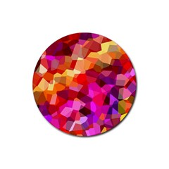 Geometric Fall Pattern Rubber Round Coaster (4 pack)