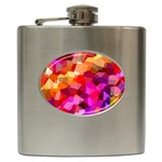 Geometric Fall Pattern Hip Flask (6 oz) Front