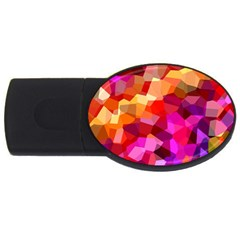 Geometric Fall Pattern Usb Flash Drive Oval (2 Gb)