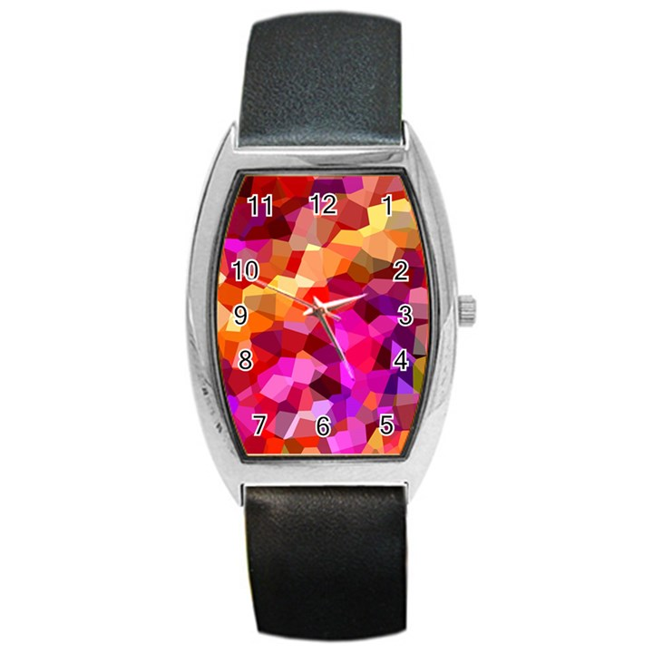 Geometric Fall Pattern Barrel Style Metal Watch