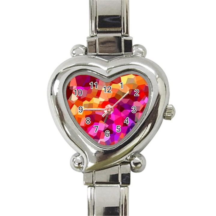 Geometric Fall Pattern Heart Italian Charm Watch
