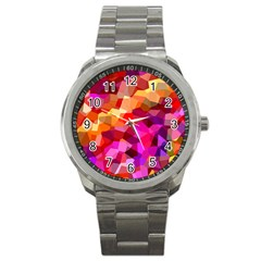 Geometric Fall Pattern Sport Metal Watch